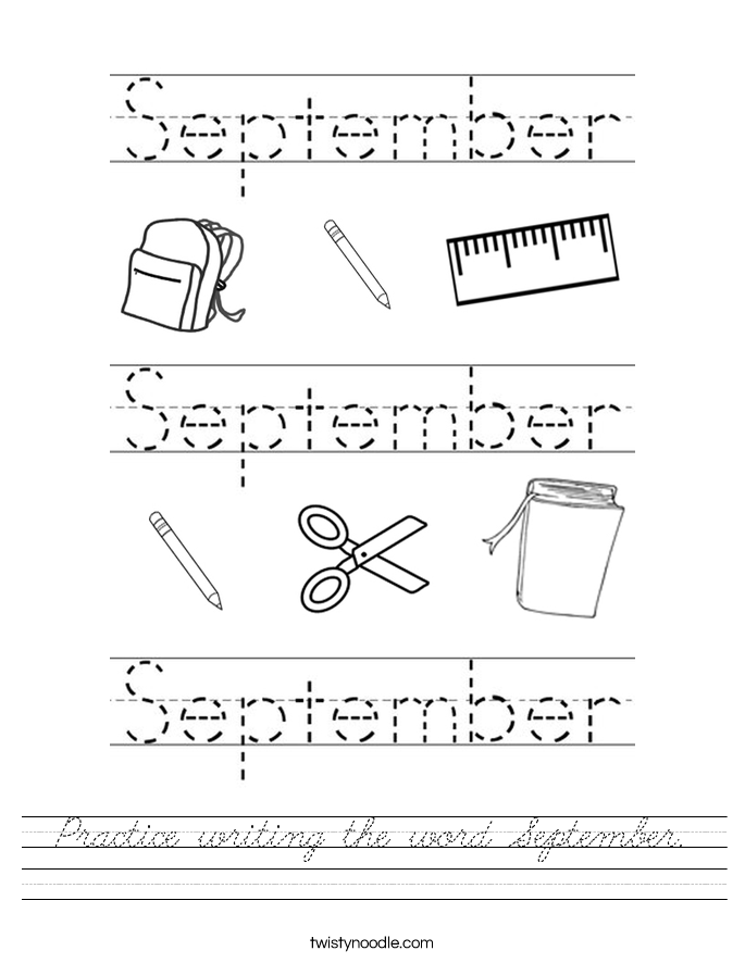 Practice writing the word September. Worksheet