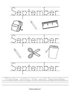 Practice writing the word September Handwriting Sheet