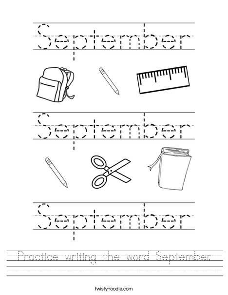 Practice writing the word September. Worksheet