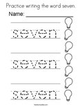 Practice writing the word seven. Coloring Page