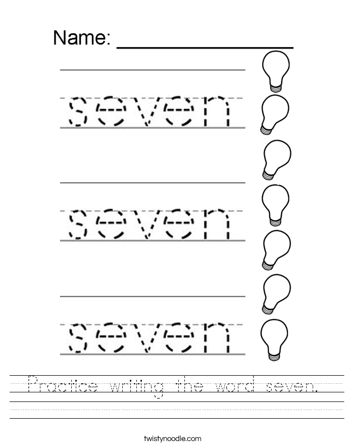 Practice writing the word seven. Worksheet