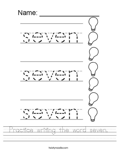 Practice Writing The Word Seven Worksheet Twisty Noodle