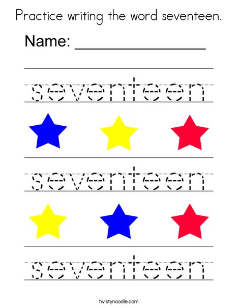Practice writing the word seventeen. Coloring Page