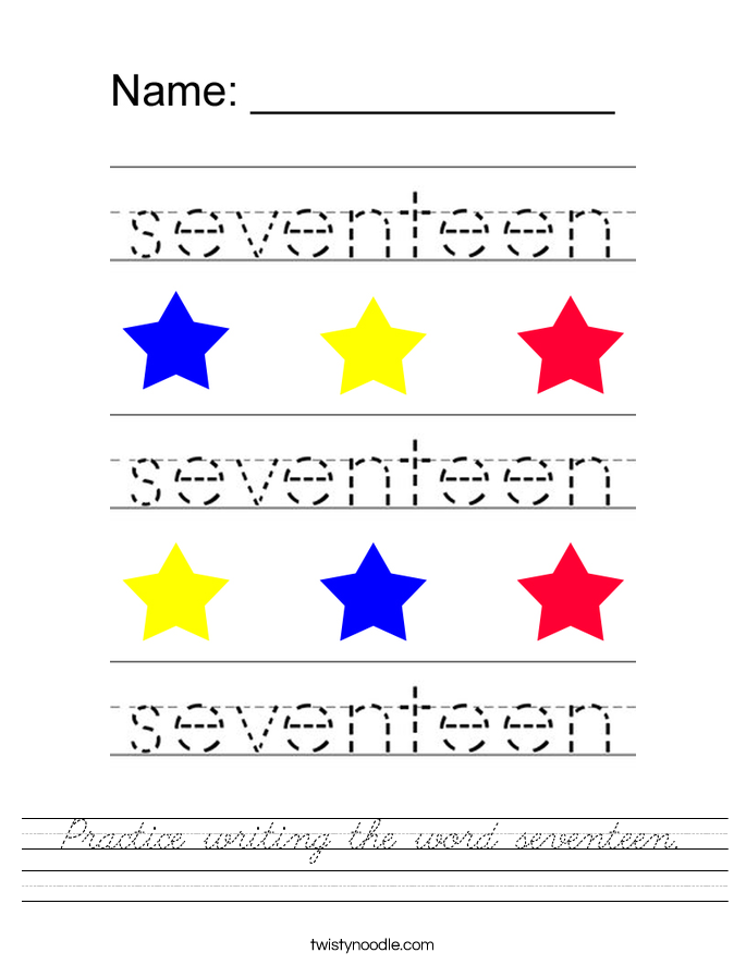 Practice writing the word seventeen. Worksheet
