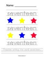 Practice writing the word seventeen Handwriting Sheet