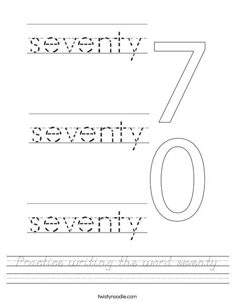 Practice writing the word seventy. Worksheet