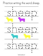 Practice writing the word sheep Coloring Page