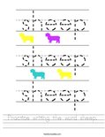 Practice writing the word sheep. Worksheet