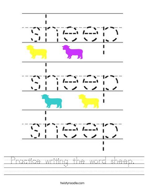 Practice writing the word sheep. Worksheet