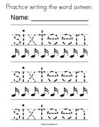 Practice writing the word sixteen Coloring Page