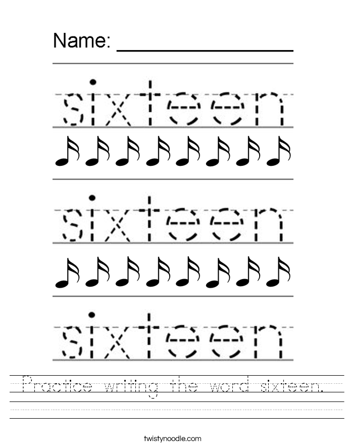 Practice writing the word sixteen. Worksheet