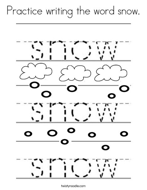 Practice writing the word snow Coloring Page - Twisty Noodle