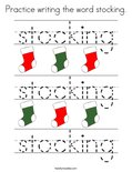 Practice writing the word stocking. Coloring Page