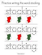Practice writing the word stocking Coloring Page