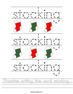 Practice writing the word stocking Handwriting Sheet