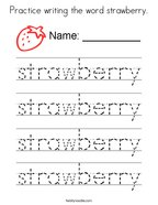 Practice writing the word strawberry Coloring Page