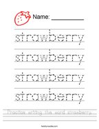 Practice writing the word strawberry Handwriting Sheet