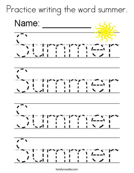 Practice writing the word summer. Coloring Page