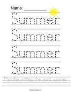 Practice writing the word summer Handwriting Sheet