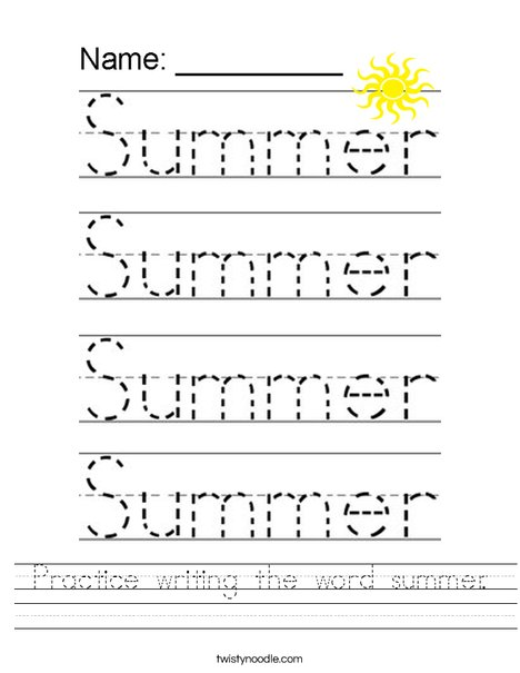 Practice writing the word summer. Worksheet