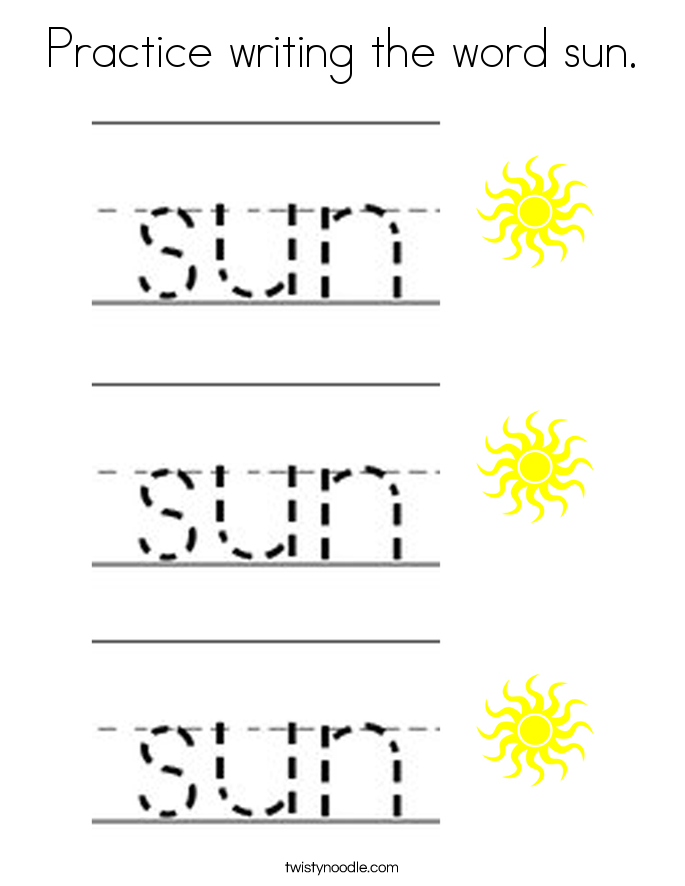 Practice writing the word sun. Coloring Page