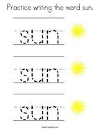 Practice writing the word sun Coloring Page