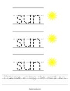 Practice writing the word sun Handwriting Sheet