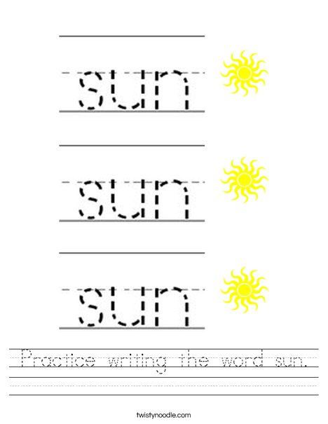 Practice writing the word sun. Worksheet