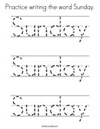 Practice writing the word Sunday Coloring Page