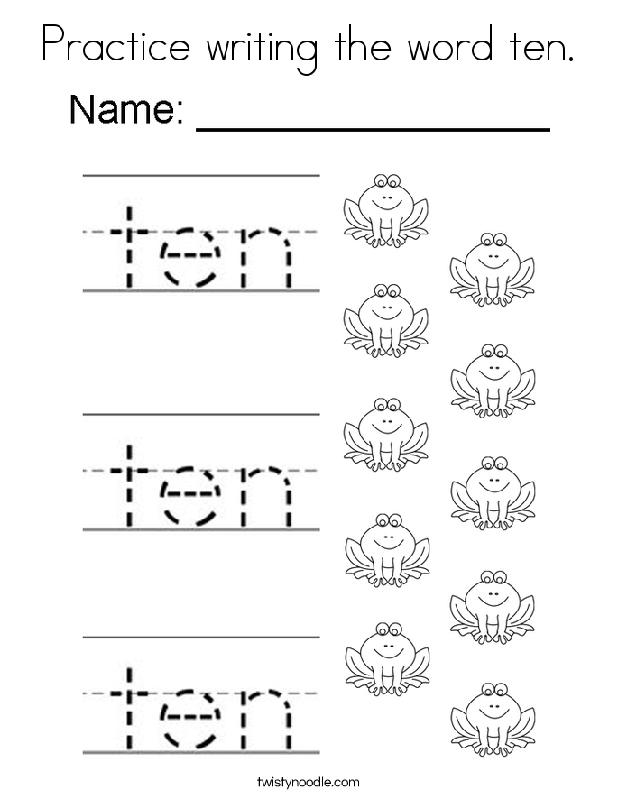Practice writing the word ten. Coloring Page