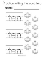 practice writing the word ten coloring page