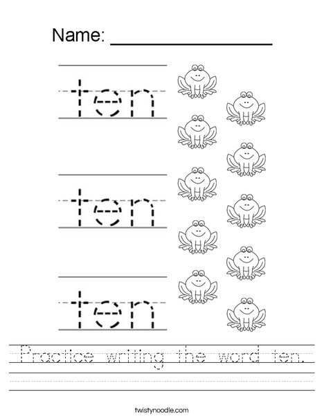 Practice writing the word ten. Worksheet