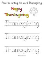 Practice writing the word Thanksgiving Coloring Page