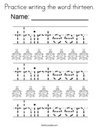 Practice writing the word thirteen Coloring Page