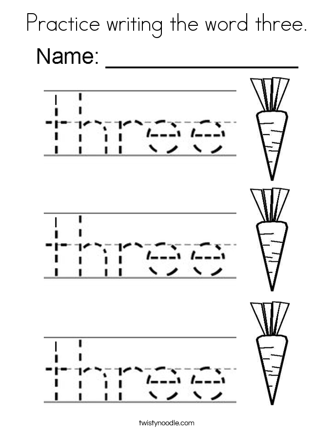Practice writing the word three. Coloring Page