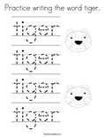 Practice writing the word tiger. Coloring Page
