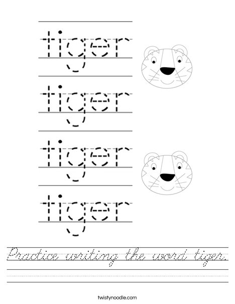 Practice writing the word tiger. Worksheet