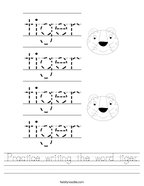 Practice writing the word tiger Handwriting Sheet