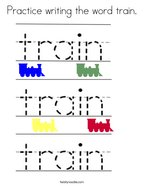 Practice writing the word train Coloring Page
