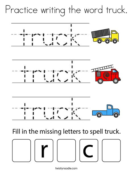 Practice writing the word truck. Coloring Page