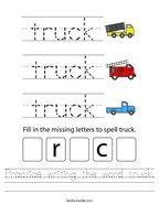 Practice writing the word truck Handwriting Sheet
