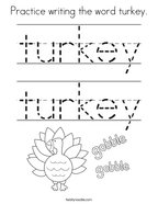 Practice writing the word turkey Coloring Page