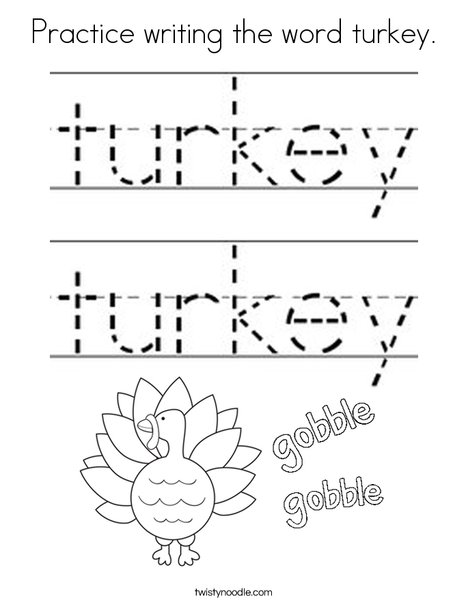 Practice writing the word turkey. Coloring Page