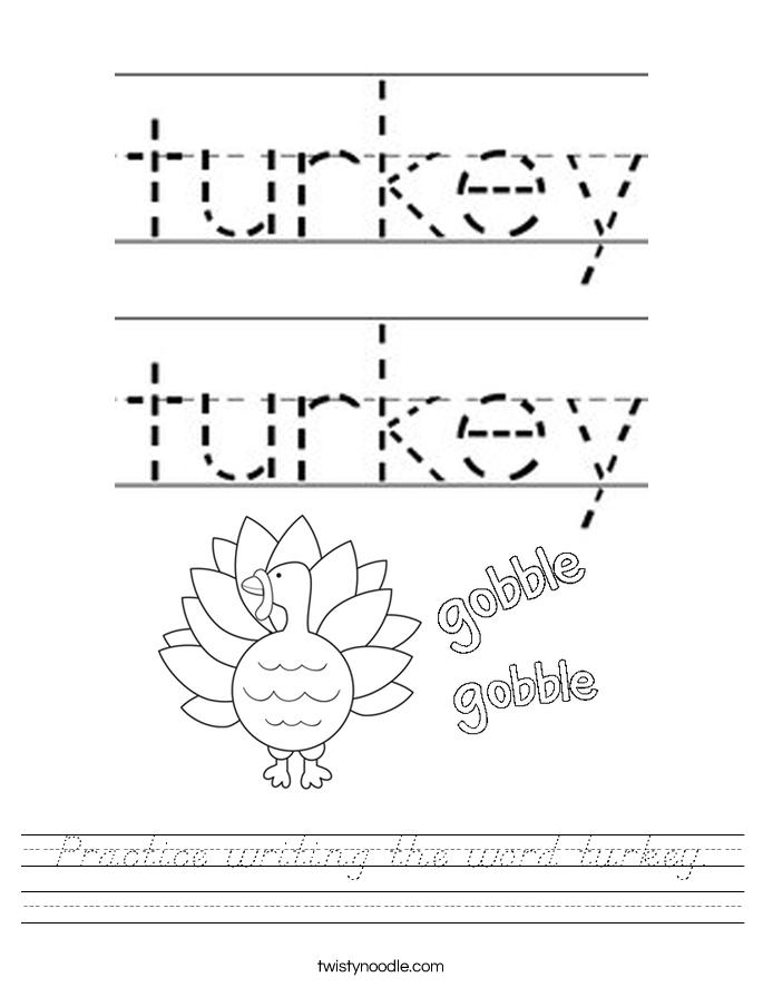 Practice writing the word turkey. Worksheet