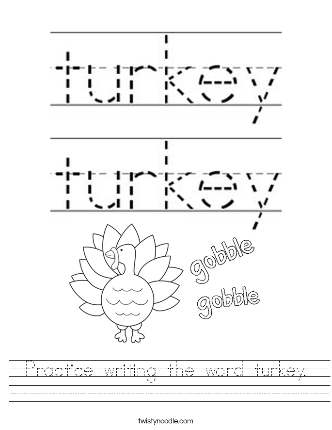 Practice writing the word turkey. Worksheet