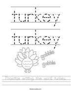 Practice writing the word turkey Handwriting Sheet