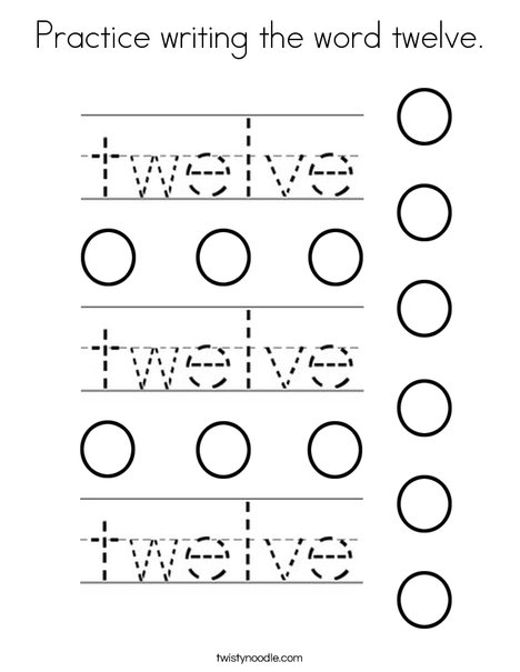 Practice writing the word twelve. Coloring Page