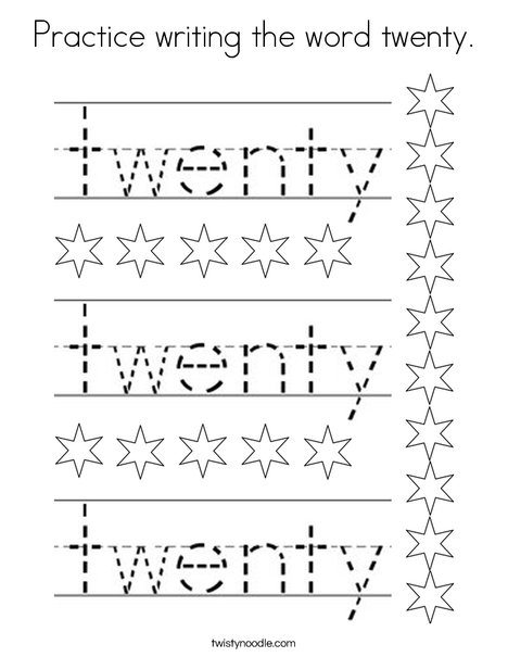 Practice writing the word twenty. Coloring Page