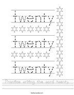 Practice writing the word twenty Handwriting Sheet