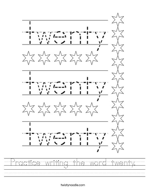 Practice writing the word twenty. Worksheet